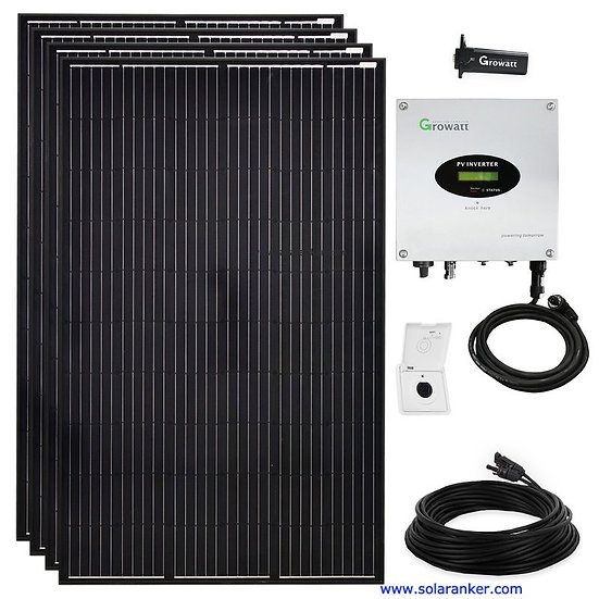 Schwarze 1200 Watt Solaranlage Plug & Play Growatt mit WiFI