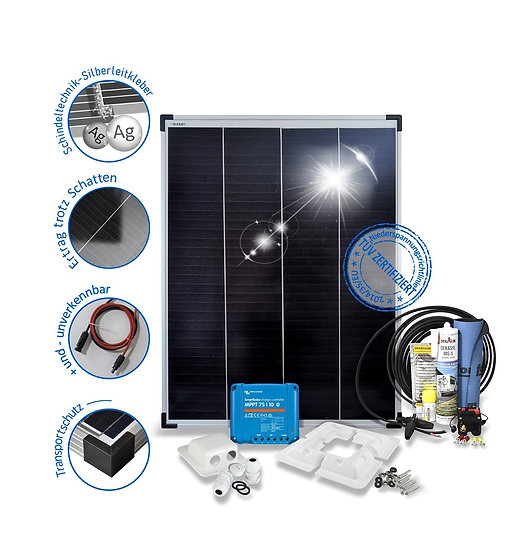 100 Watt Premium für Wohnmobile mit Halterungen Solarset   schwarz weiss ALU