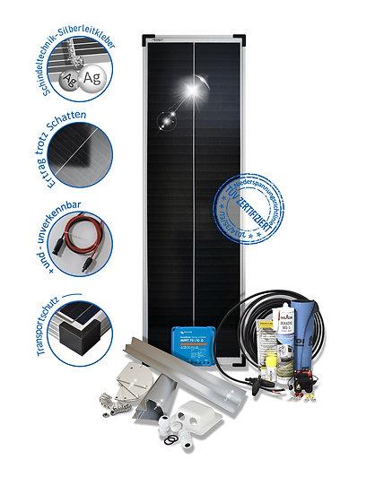 80 Watt Solarset  Premium für Wohnmobile mit Halterungen schwarz weiss ALU