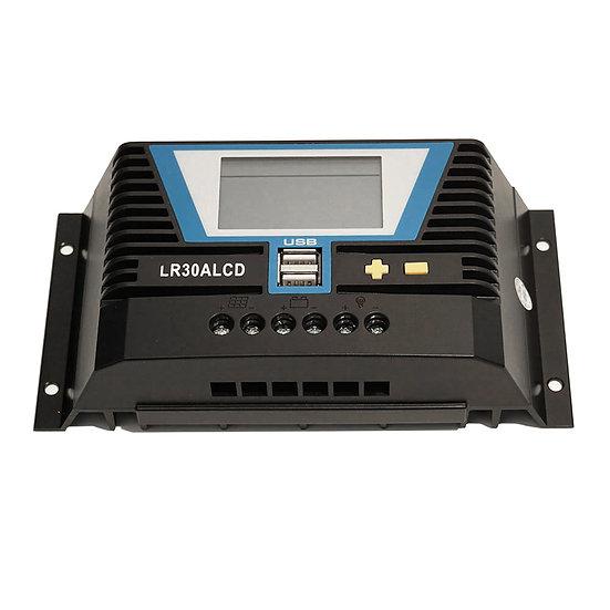 Solar Laderegler 30A LR30ALCD mit Dual USB-Anschluss und LCD-Anzeige für 12V / 2