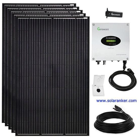 Schwarze 1500 Watt Solaranlage Mono Photovoltaik Plug & Play