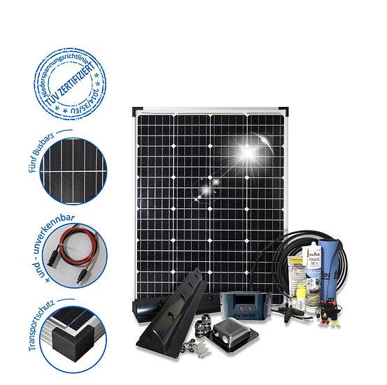 100 Watt Komfort S für Wohnmobile mit Eckprofilen Solarset