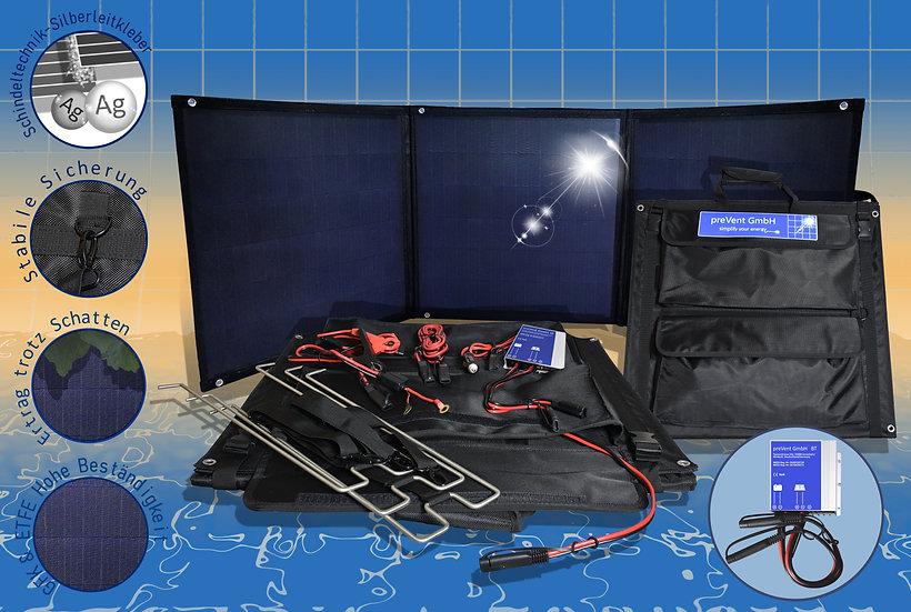 ETFE Oberfläche Schindel 135W Solarmodul faltbar, MPPT Laderegler, Solartasche