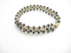 Beaded Crosstitch Bracelet Iris and gold Cheryl Erickson