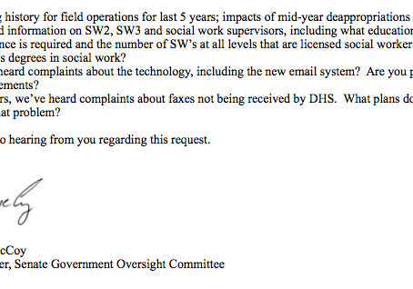 Senator McCoy's Letter to Director Palmer (DHS) & The Response