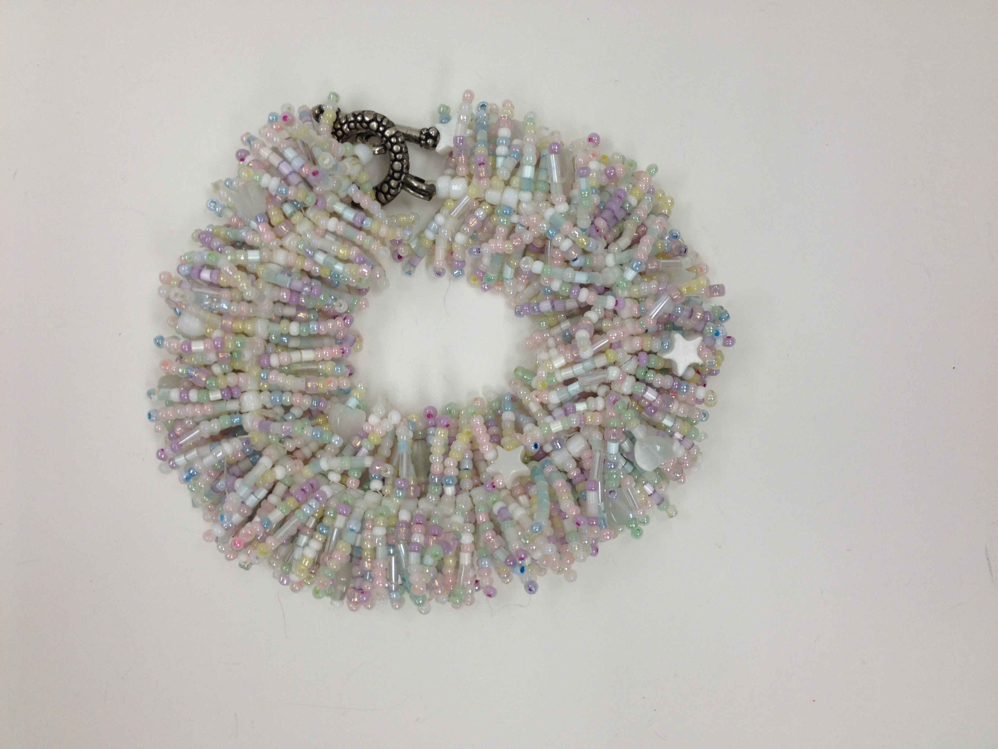 Shaggy Spike Bracelet in white and pastel