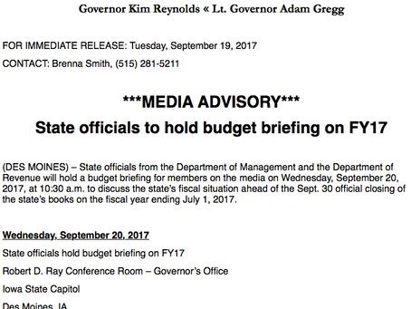 FOR IMMEDIATE RELEASE: State officials hold budget briefing on FY17