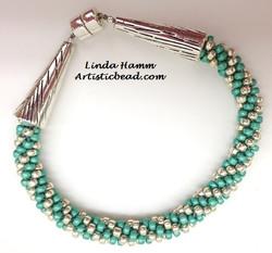 Begin Kumi Br teal and silver rnd Linda Hamm WM W