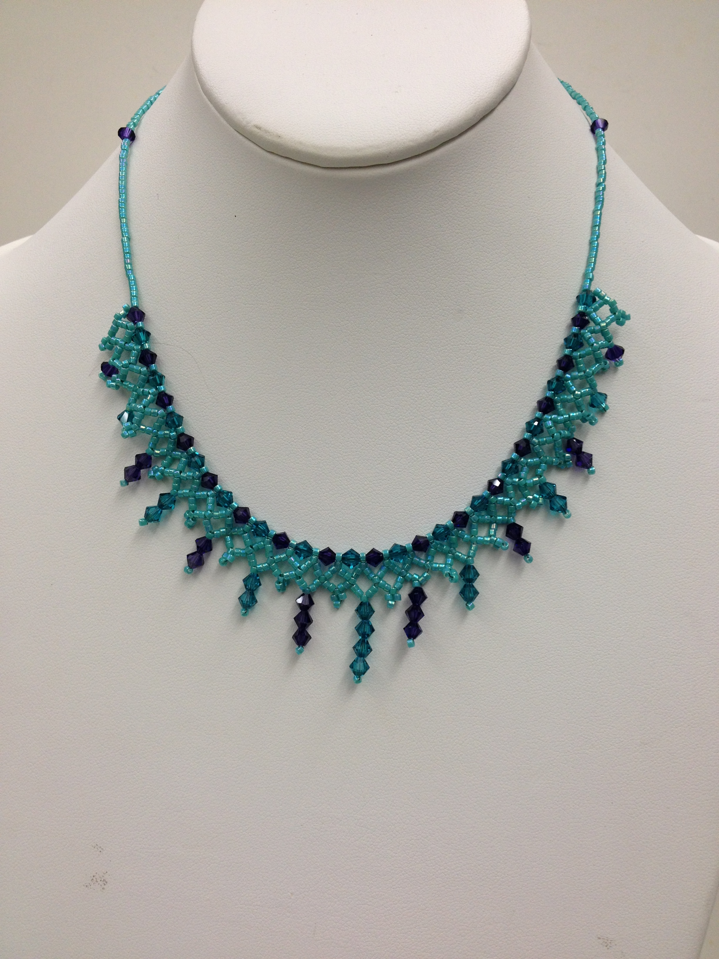 Crystal lace Necklace in teal and purple by Paula Binner