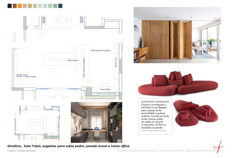 sala tripla, sugestao para sofas pedra, parede movel e home office