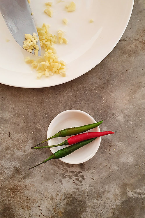 Limes, Chillies & chopped Garlic