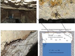 Danos em estruturas de concreto, por ação do H2S.