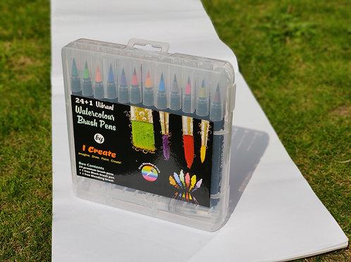 24 Set Black Barrels - Watercolour Brush Pens