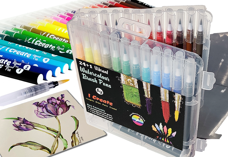 24 Watercolour Brushpen Set | Matching Colour Barrels