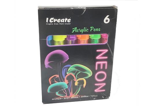 NEON Acrylic Pens - 6 Set