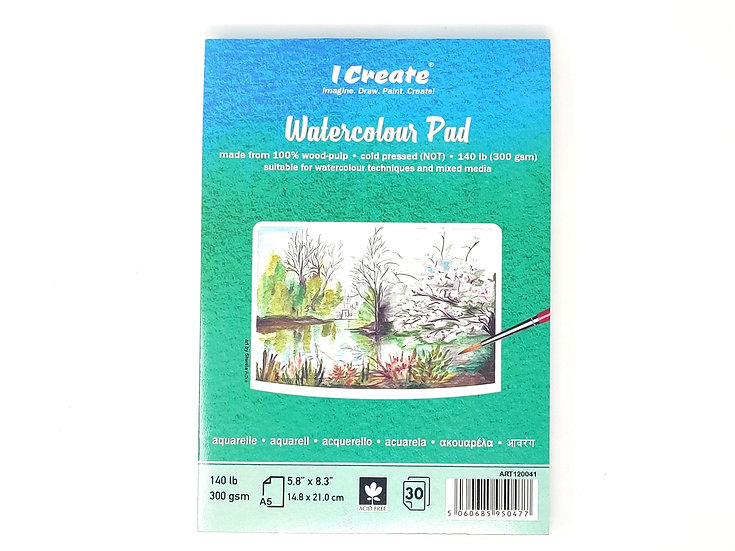 Watercolour Pad (A5 Cold Pressed, 300 gsm, 30 Sheets)