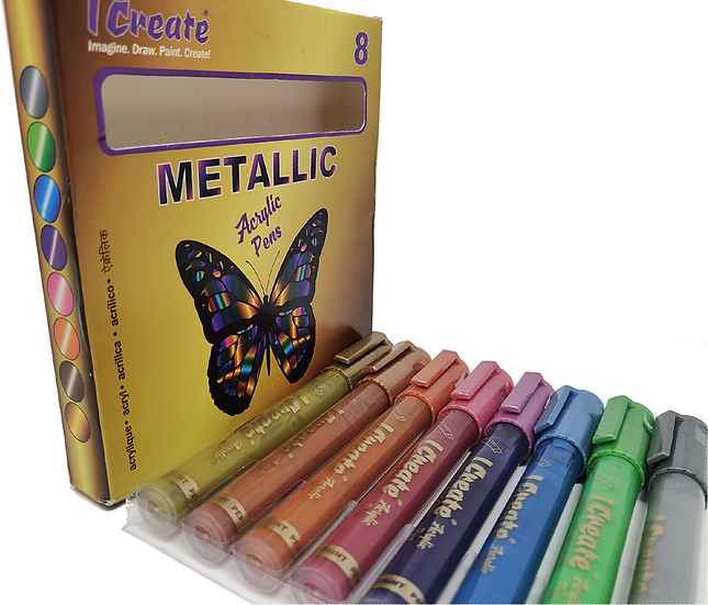 METALLIC Acrylic Pens - 8 Set