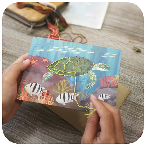 Embroider Me Turtle Greeting Card