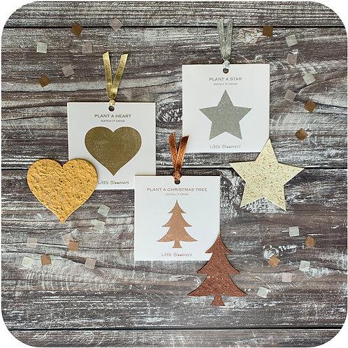 Plantable Christmas Tree, Star And Heart Set