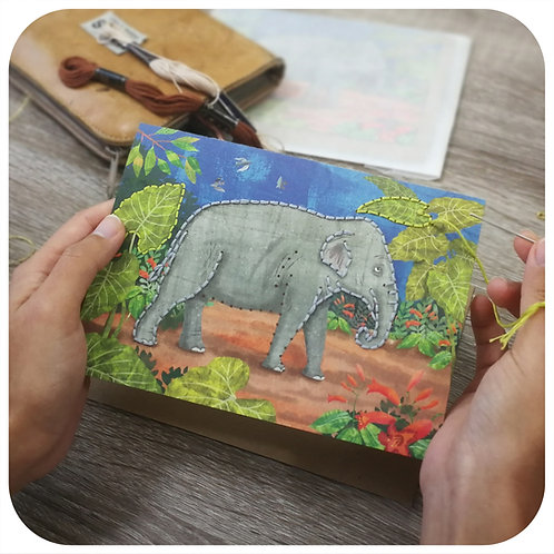 Embroider Me Elephant Greeting Card