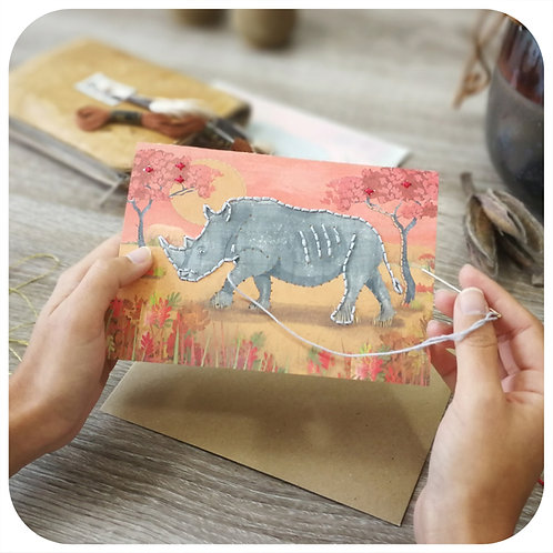 Embroider Me Rhino Greeting Card