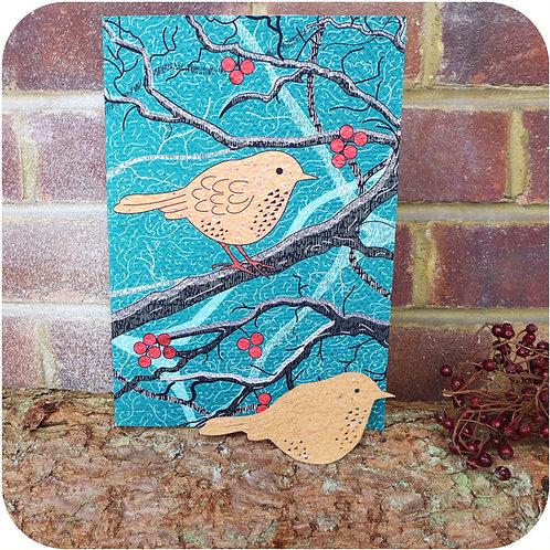 Xmas Greeting Card - Plantable Robin