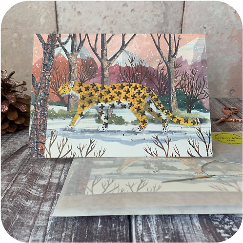 Xmas Embroider Me Snow Leopard Greeting Card