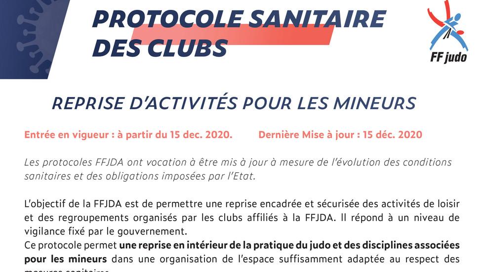 Covid 19 - Protocole Sanitaire des clubs - Janvier