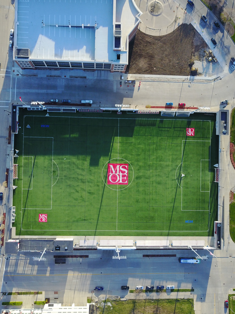 Aerial view of the new field at MSOE