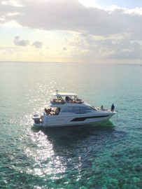 Inflight Drone Sunset Boat Aerial