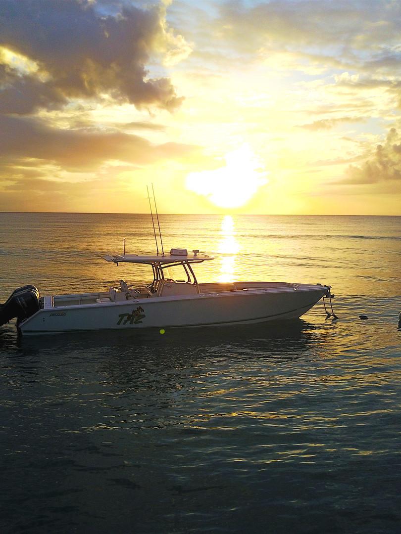 Inflight Drone Sunset Boat Shot