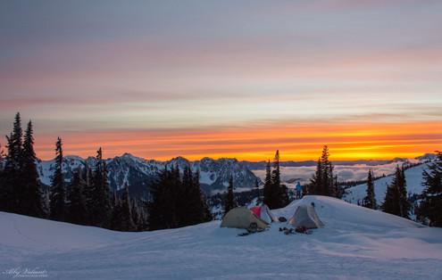 Snow Camping Sunset Panoramic