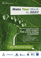 Council on Business & Society 2021 Student CSR Article Competition, responsible leadership, CSR, sustainability, ethics, green finance, diversity & inclusion, social entrepreneurship, digital transformation, digital divide, social accounting. ESSEC Business School, FGV-EAESP, School of Management Fudan University, IE Business School, Keio Business School, Trinity Business School, Trinity College Dublin, Warwick Business School.