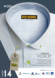 Global Voice magazine #14. Council on Business & Society 2020 Student CSR Article Competition, responsible leadership, CSR, sustainability, ethics, green finance, diversity & inclusion, social entrepreneurship, digital transformation, digital divide, social accounting. ESSEC Business School, FGV-EAESP, School of Management Fudan University, IE Business School, Keio Business School, Trinity Business School, Trinity College Dublin, Warwick Business School.