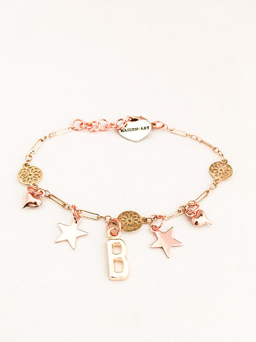 Initial Bracelet Gold for Women. Initial Bracelet Star