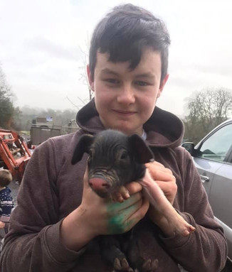 Harry with one of the first piglets of 2