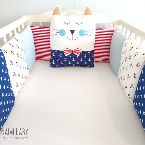 סט מגן ראש כריות למיטת תינוק חתול עוגנים