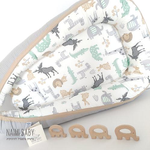 בייבי נסט - חיות ספארי ופיקה אפור בהיר עם פס חיבור בז'