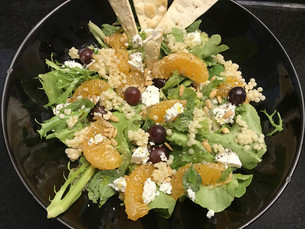 Orange, Grapes , Feta and Pearl Couscous Salad