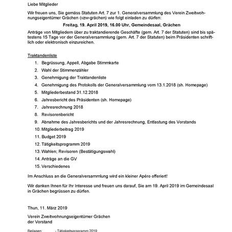 Einladung 2. GV und Tätigkeitsprogramm 2019