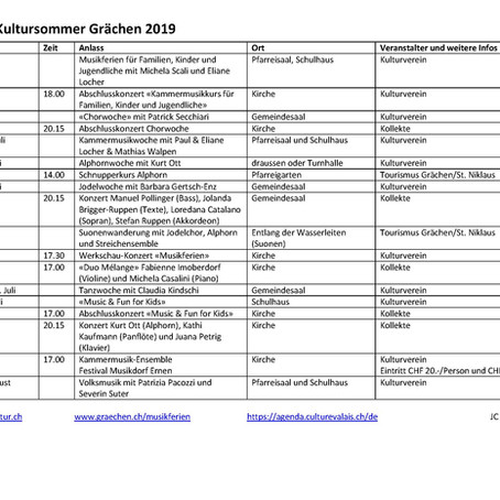 Kultursommer Programm 2019