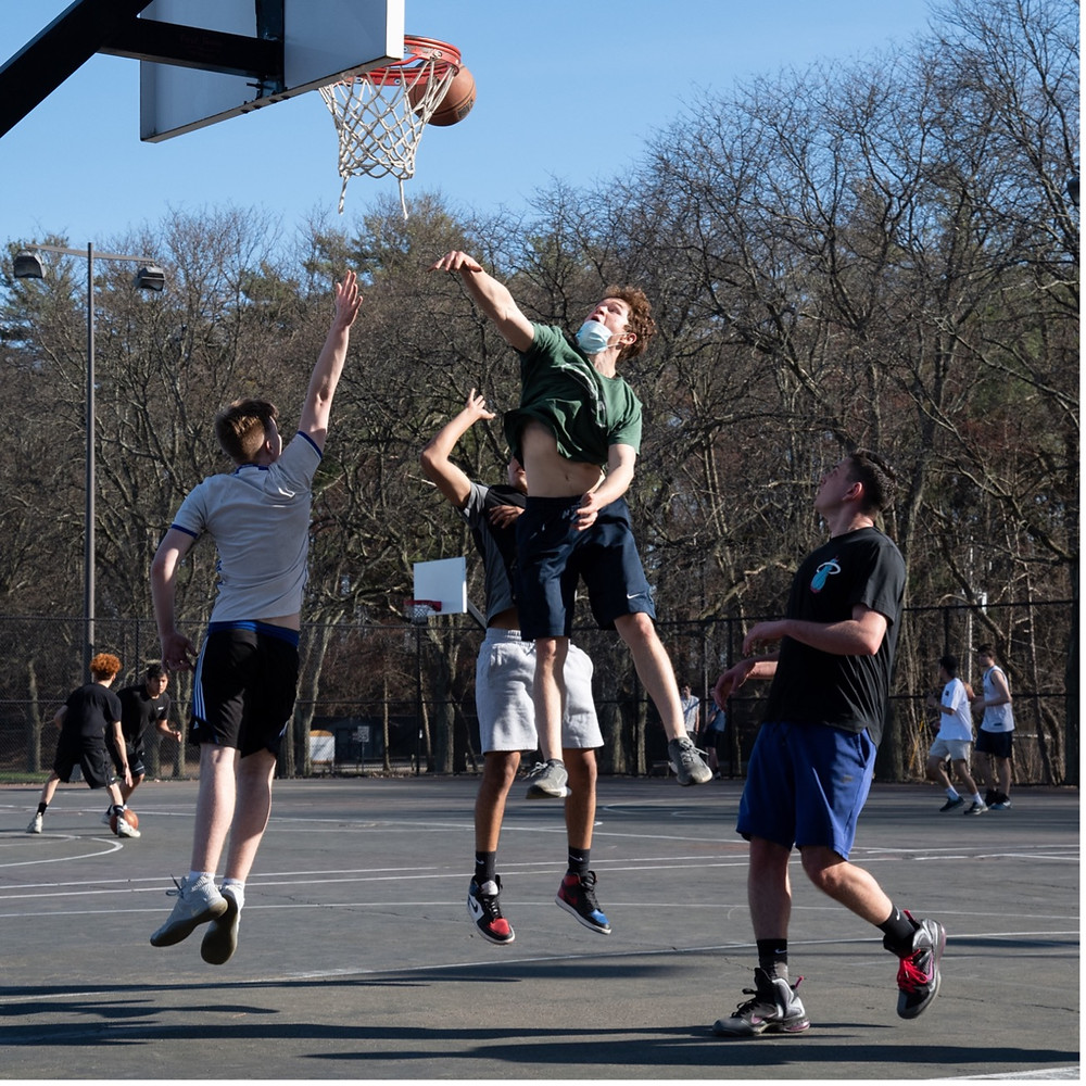 Students at Newly Reopened Basketball Courts Behind Dutch Quad