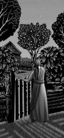 Black & white illustration detail