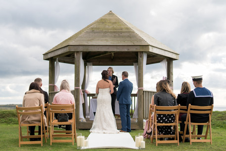 Small & intimate wedding ceremony on the clifftop at Whitsand Bay