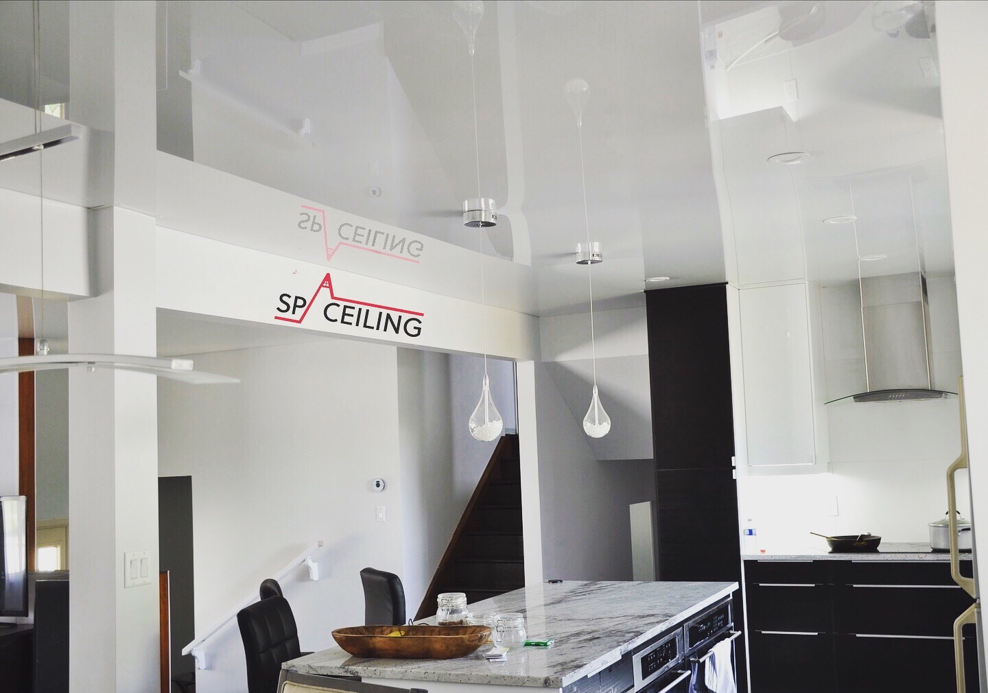 White lacquer Stretch Ceiling