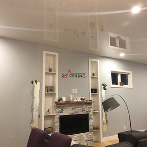 White glossy stretch ceiling