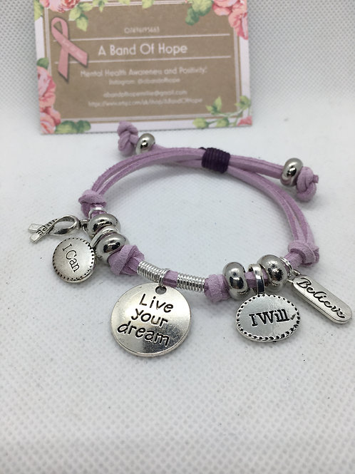 Live Your Dream Charm+  Mental Health Awareness Bracelet