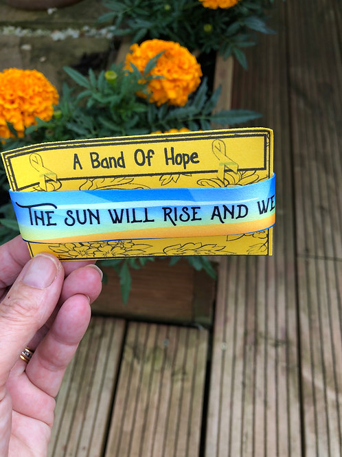 'The Sun Will Rise And we Will Try Again' fabric adjustable wristband