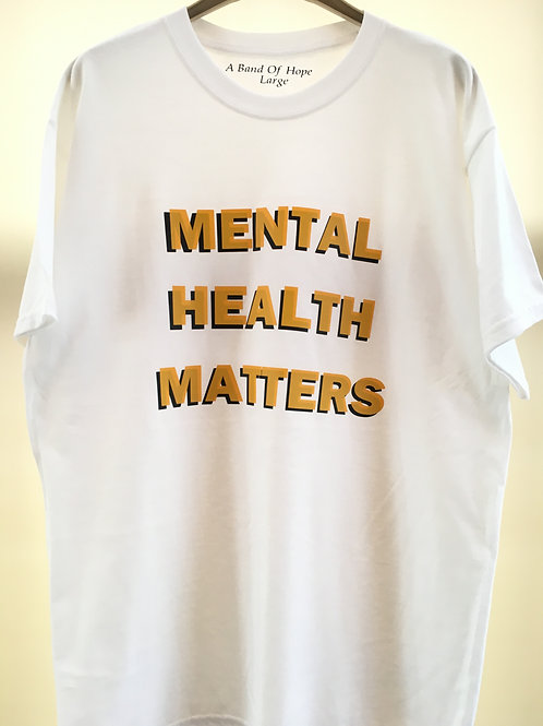 'Mental Health Matters' T-Shirt (Yellow/ Black Vinyl) Long sleeve available