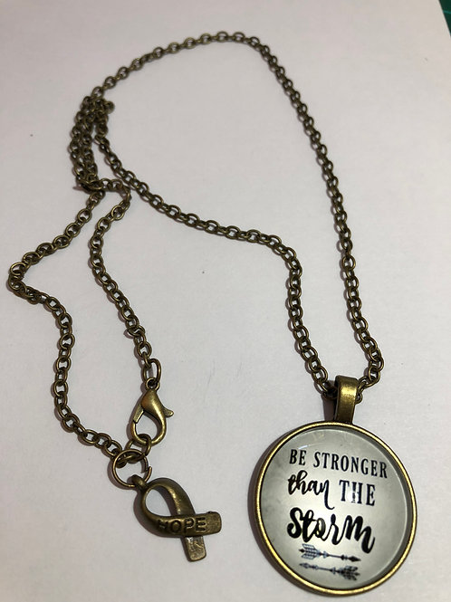 Be Stronger Than The Storm motivational necklace.